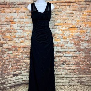 Betsy & Adam Black Maxi Formal Cocktail Prom Dress